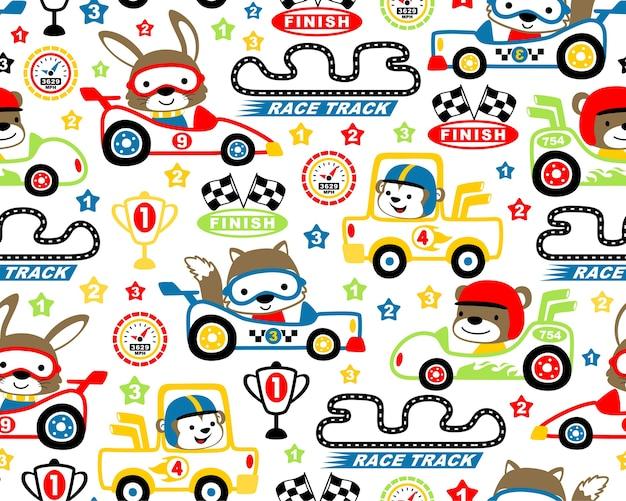 Autosport thema set cartoon op naadloze patroon vector Premium Vector