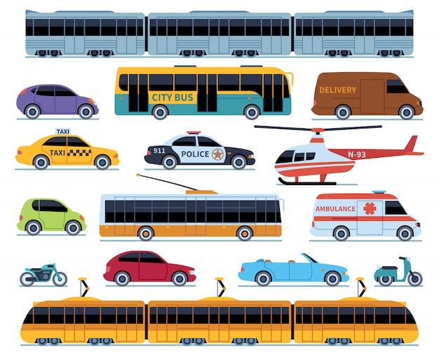 Autotransportset. voertuigen stadsvervoer. auto's vrachtwagens scooters motorfiets bus. zijaanzicht auto geïsoleerde set Premium Vector