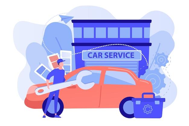Autotuner met moersleutel en gereedschapskist die voertuigmodificatie doet bij autoservice. autotuning, carrosseriebouw, upgradeconcept voor automuziek Gratis Vector