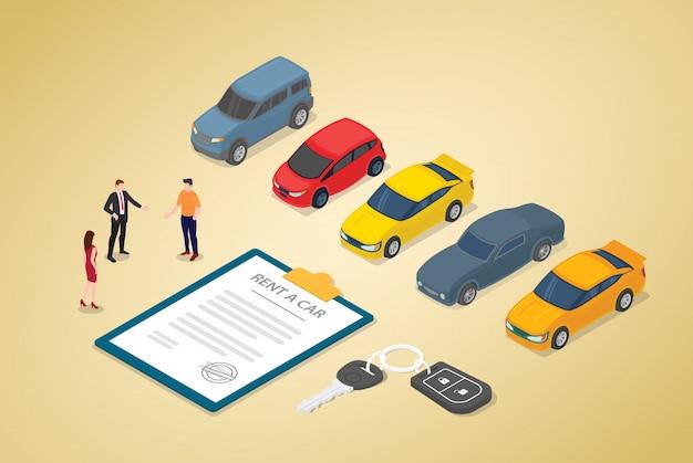 Autoverhuurbedrijf met verschillende auto's model en papieren contract met teammensen Premium Vector