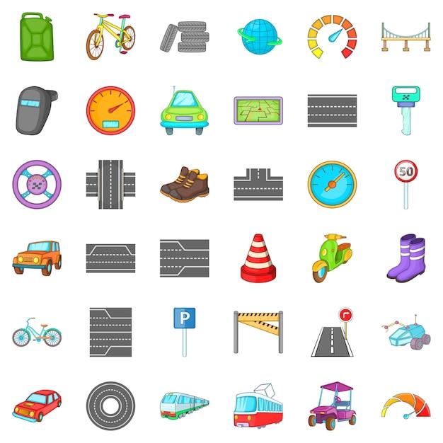 Autoverkeer iconen set, cartoon stijl Premium Vector