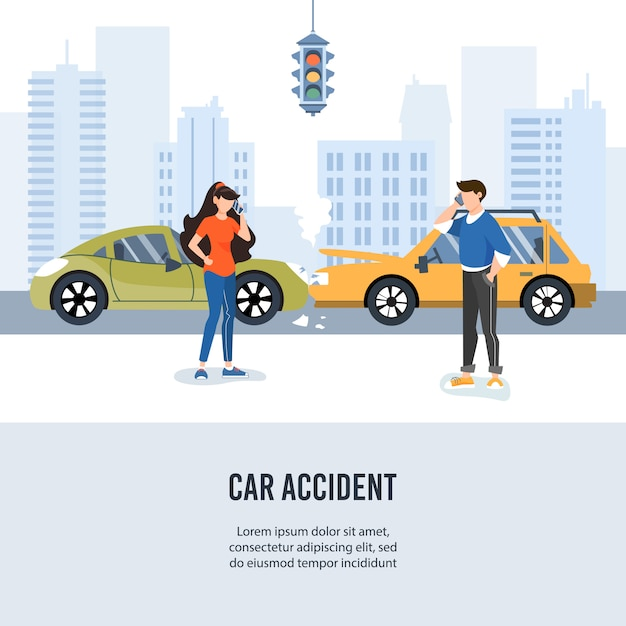 Autoverkeerongeval in de stad. Premium Vector
