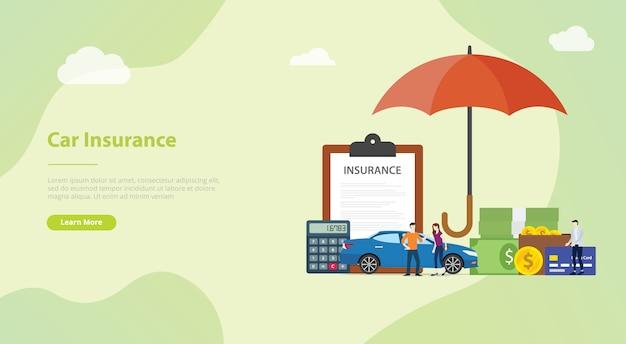 Autoverzekering concept voor website sjabloon of landing startpagina Premium Vector