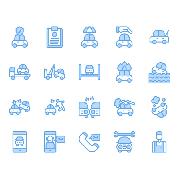 Autoverzekering icon set Premium Vector