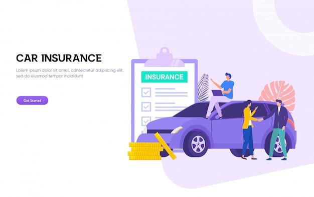 Autoverzekering illustratie. man en vrouw omgaan met verzekeringsagent en ondertekeningsformulier, Premium Vector