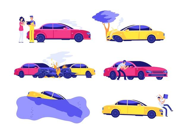 Autoverzekering ongevallen ingesteld Premium Vector