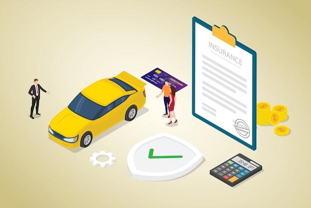 Autoverzekeringsconcept met auto en contractdocument met teammensen en moderne isometrische vlakke stijl Premium Vector