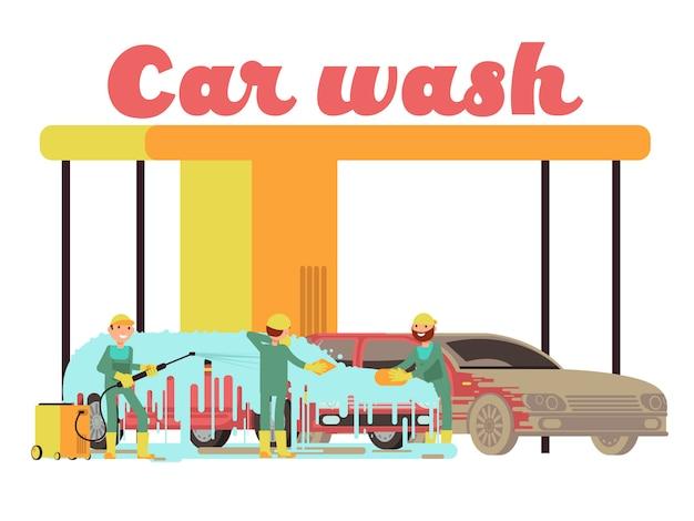 Autowasserettediensten promotie marketing vectorachtergrond Premium Vector