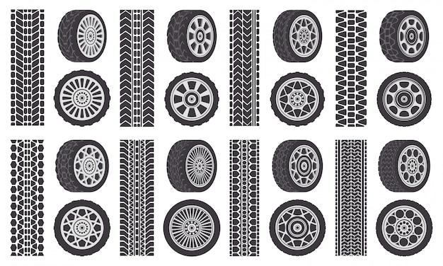Autowiel banden. spoor sporen, auto velgen, auto voertuig loopvlak sporen. rubber wiel banden symbolen illustratie set. rubberen silhouetband, snelheidstransport print Premium Vector
