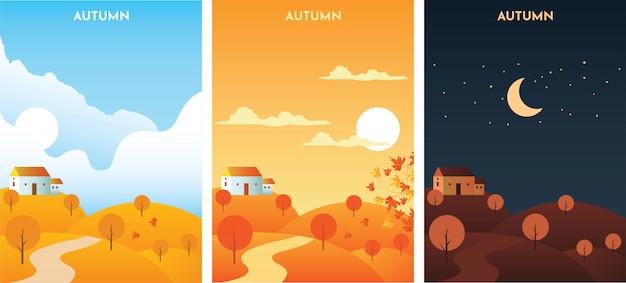 Autumn landscape bij zonsopgang, zonsondergang en nacht. herfst seizoen banners set sjabloon. Premium Vector