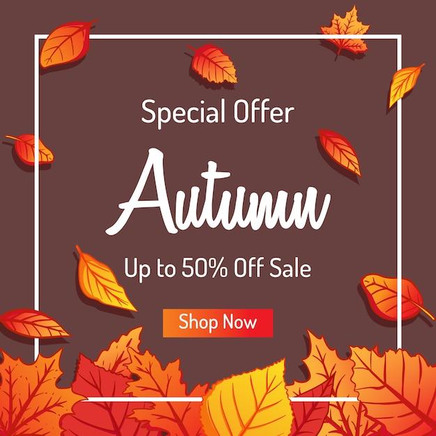 Autumn leaves-achtergrond voor het winkelen verkoop of promo-ontwerp Premium Vector