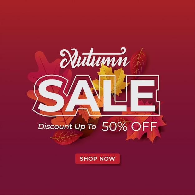 Autumnsale lay-out typografie versieren met bladeren promo of webbanner. Premium Vector