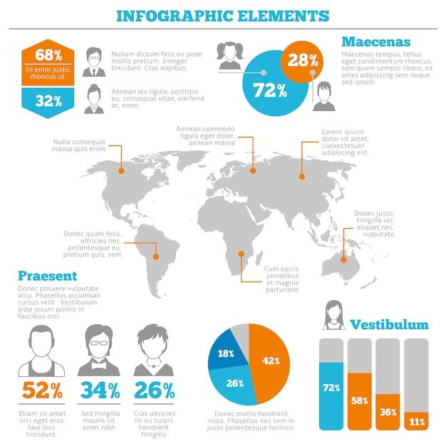 Avatar infographic elementen lay-out Premium Vector