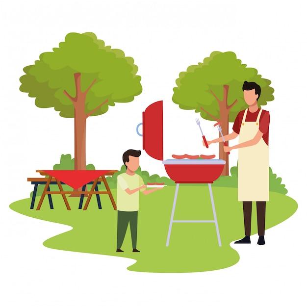 Avatar jongen en man in een bbq-grill Premium Vector