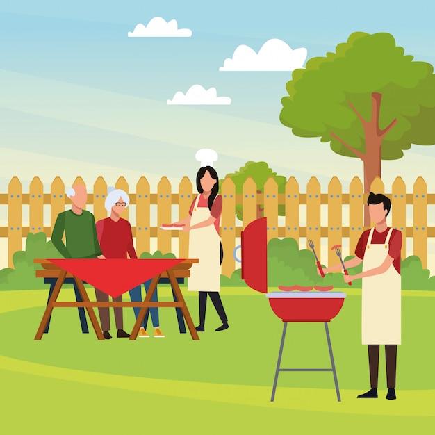 Avatar man en familie in een picknicktijd Premium Vector