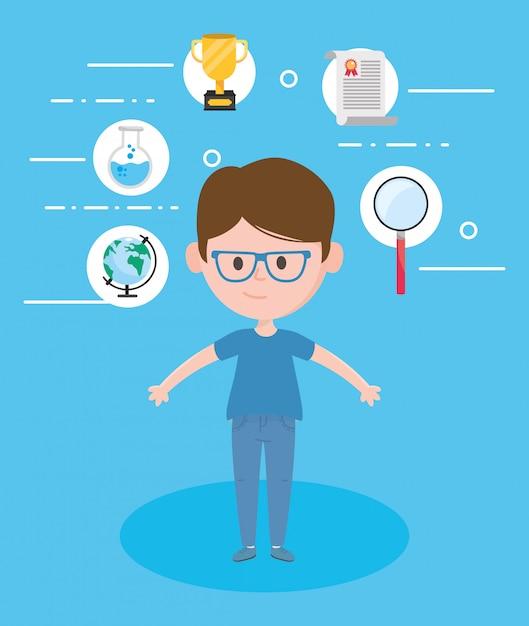 Avatar man en online leren Premium Vector