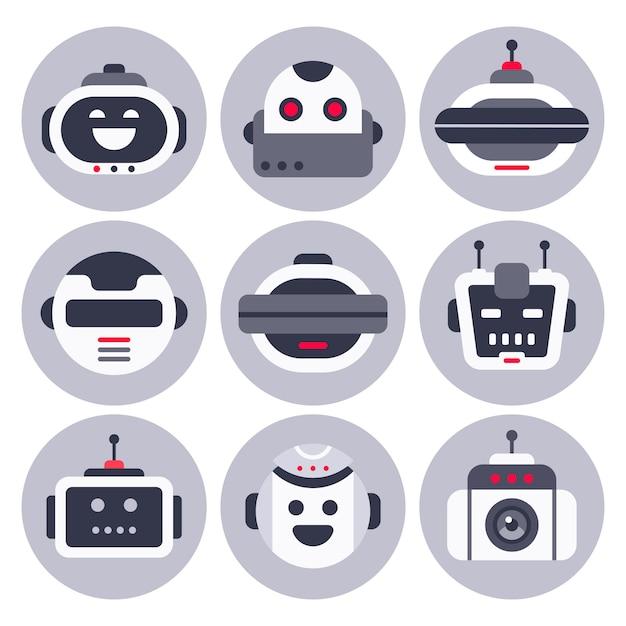 Avatar robotrobotbot, computerchat help botrobots en virtuele assistent digitale chatbots geïsoleerd Premium Vector
