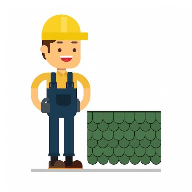 Avatar van het mensenkarakter icon.roof het huis van de bouwvakkerreparatie Premium Vector