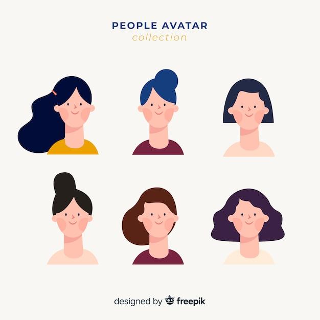 Avatar-verzameling van mensen Gratis Vector
