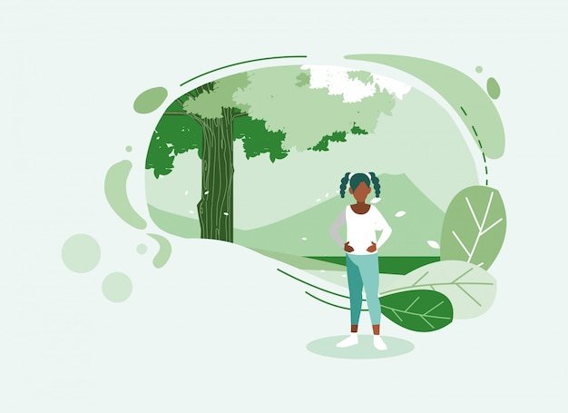 Avatar vrouw met boom en bladeren Premium Vector