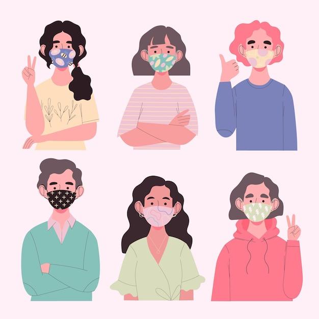 Avatars dragen stoffen maskers voor bescherming Gratis Vector