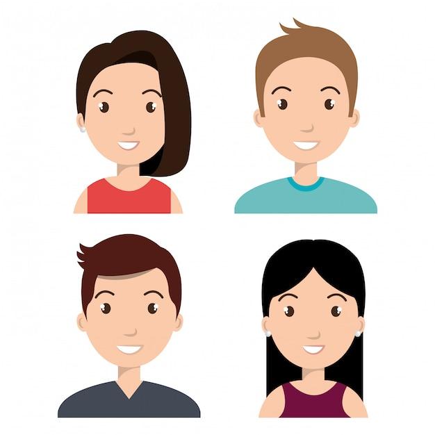 Avatars mensen ontwerp Gratis Vector
