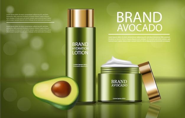 Avocado crème product banner Premium Vector