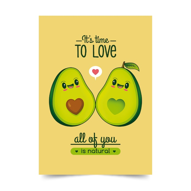 Avocado's liefde illustratie Premium Vector