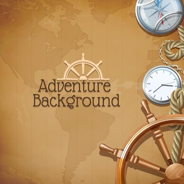 Avonturenaffiche met retro overzeese navigatiesymbolen en wereldkaart op achtergrond Gratis Vector