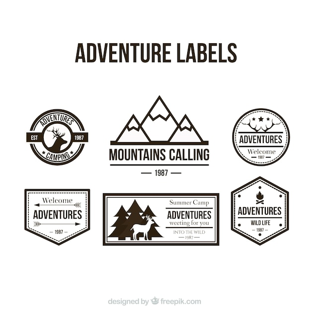 Avontuur labels collectie Gratis Vector