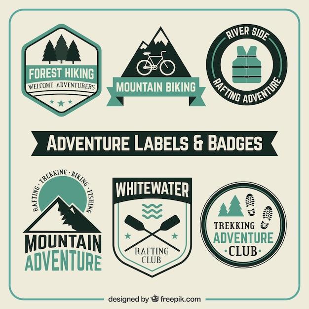 Avontuur labels en badges Gratis Vector