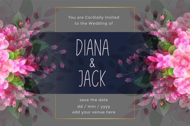 Awesome bruiloft uitnodigingskaart met bloem bloeien decoratie Gratis Vector