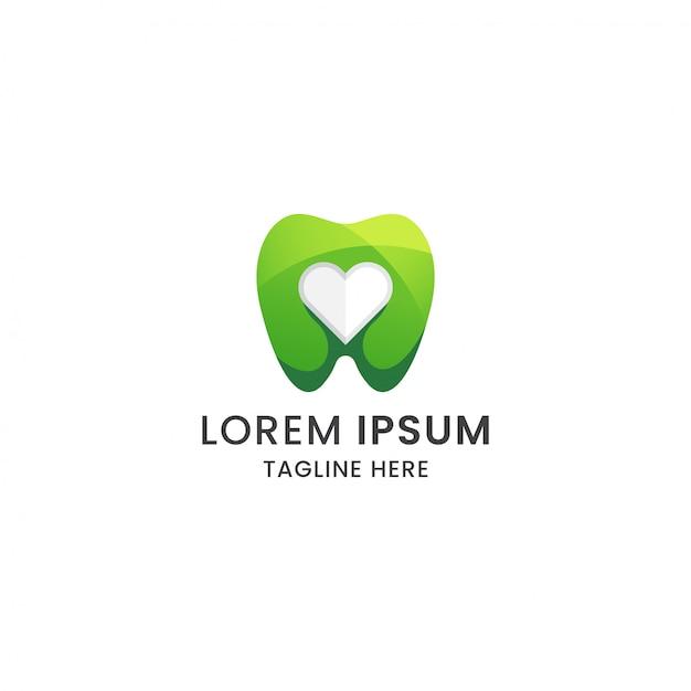 Awesome gradiënt tand en liefde tandheelkundige zorg logo ontwerp pictogrammalplaatje Premium Vector