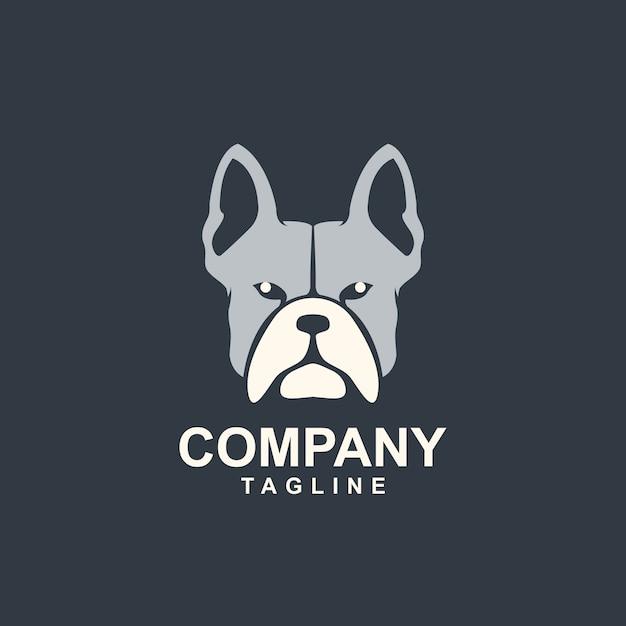Awesome head bull dog logo sjabloon Premium Vector