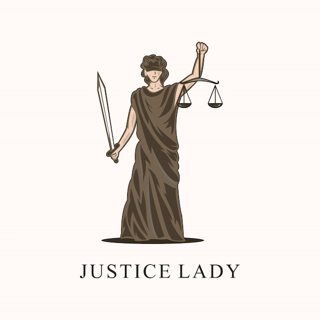 Awesome justice lady-logo Premium Vector