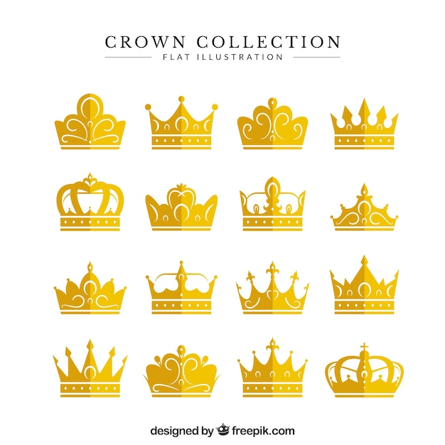 Awesome kroon collectie Gratis Vector