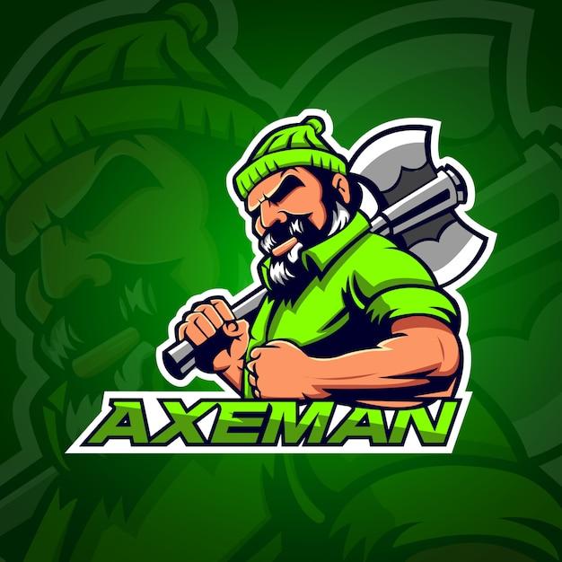 Axeman logo gaming e sport met lichtgroene kleur Premium Vector