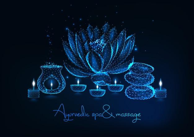 Ayurvedische spa en massage met lotusbloem, evenwichtige rotsen, aromalamp, geurkaarsen. Premium Vector