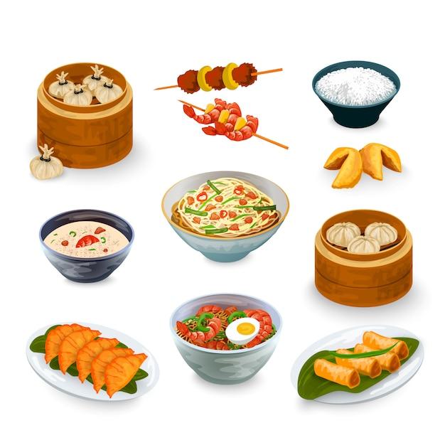 Aziatisch eten set Gratis Vector