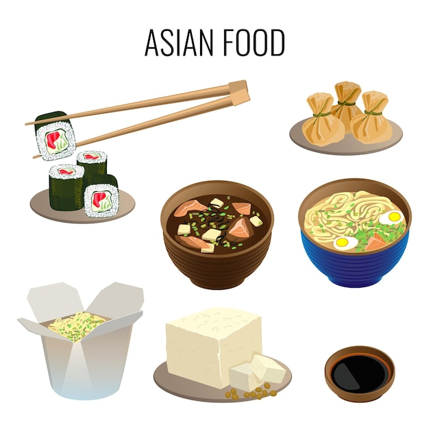 Aziatisch eten. verzameling van traditionele nationale aziatische gerechten op wit. oosterse keuken webbanner. illustratie van sushi met lange stokken, ramen soep, soort soep, maaltijd in kartonnen doos. Premium Vector