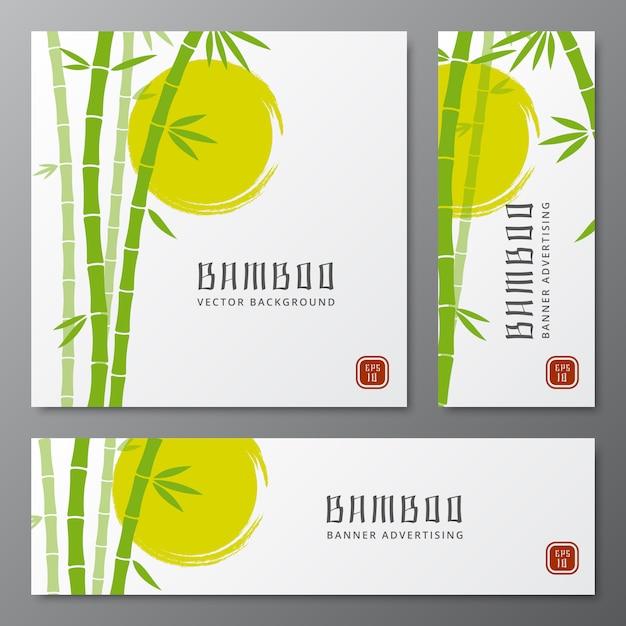 Aziatische bambu drie kaarten of de japanse vectorillustratie van bamboebanners Premium Vector