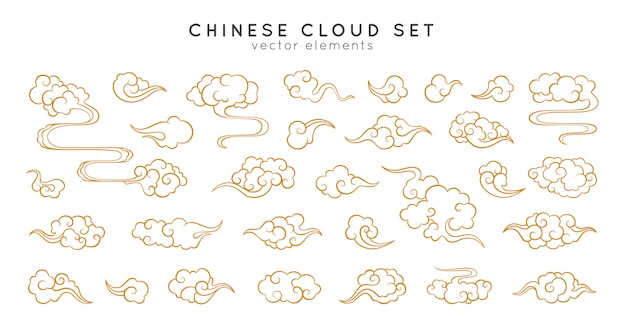 Aziatische cloud set. traditionele bewolkte ornamenten in chinese, koreaanse en japanse oosterse stijl. Premium Vector