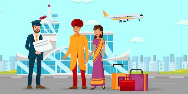 Aziatische familie bij illustratie van de luchthaven de vlakke kleur Premium Vector