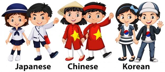 Aziatische kinderen uit verschillende landen Premium Vector