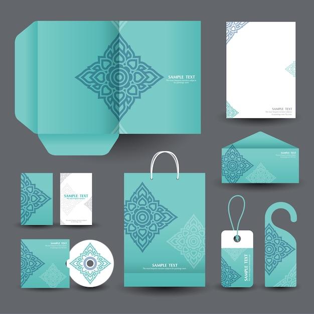 Aziatische kunststijlen zakelijke briefpapier Premium Vector