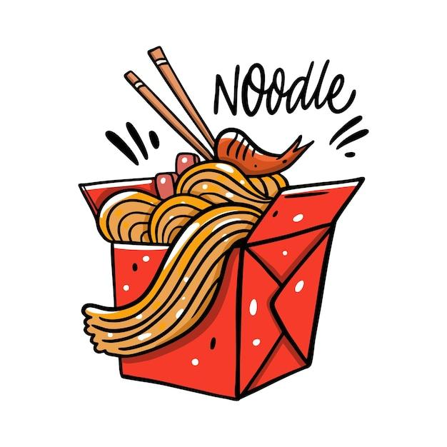 Aziatische noodle in rode doos cartoon afbeelding Premium Vector