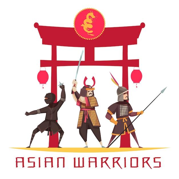 Aziatische oude krijgers met wapens en uniforme flat Gratis Vector