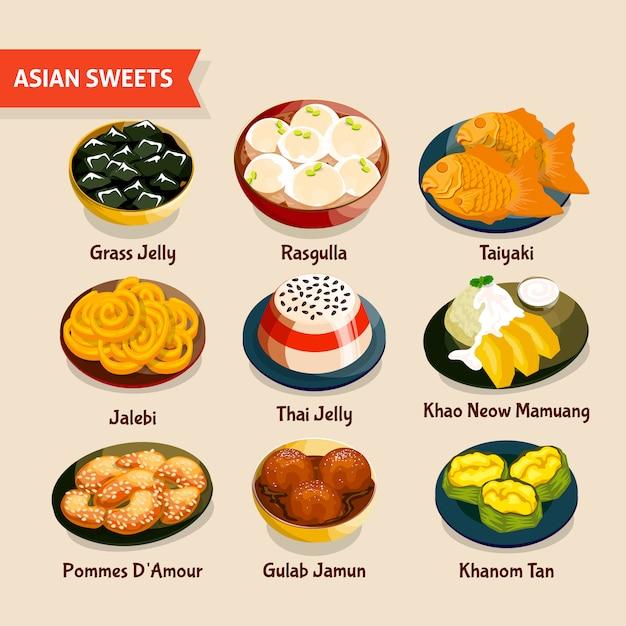 Aziatische snoepjes instellen Gratis Vector