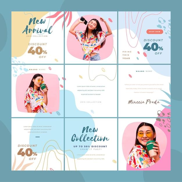 Aziatische vrouw instagram puzzel feed Premium Vector