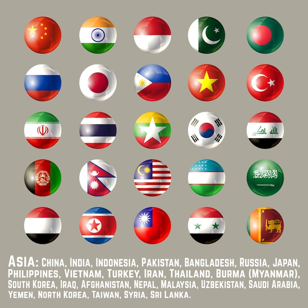 Azië ronde knop vlaggen één Premium Vector